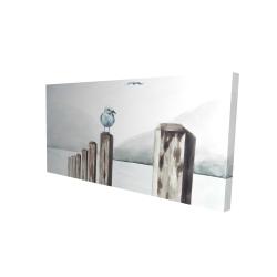 Canvas 24 x 48 - 3D - Seagull at the marina