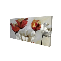 Canvas 24 x 48 - 3D - Abstract red and white flowers