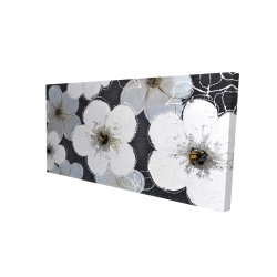 Canvas 24 x 48 - 3D - Gray flowers