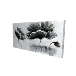 Canvas 24 x 48 - 3D - Industrial style grayscale flowers