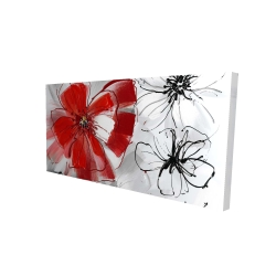 Canvas 24 x 48 - 3D - Red & gray flowers
