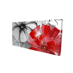 Canvas 24 x 48 - 3D - Red & white flowers sketch