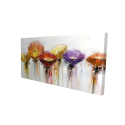 Canvas 24 x 48 - 3D - Multiple colorful abstract flowers