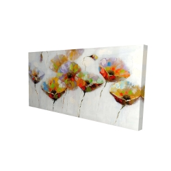 Canvas 24 x 48 - 3D - Color dotted flowers