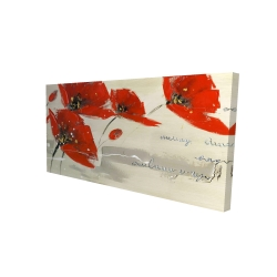 Canvas 24 x 48 - 3D - Abstract red flowers in the wind
