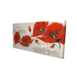Canvas 24 x 48 - 3D - Red flowers with an handwritten typo
