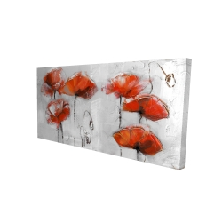 Canvas 24 x 48 - 3D - Red flowers