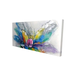 Canvas 24 x 48 - 3D - Abstract flower with newspaper