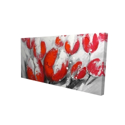 Canvas 24 x 48 - 3D - Red tulips