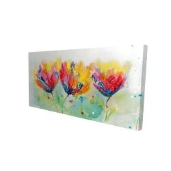 Canvas 24 x 48 - 3D - Four colorful flowers