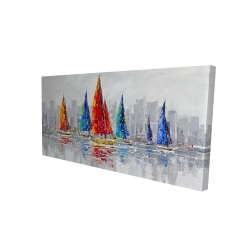 Canvas 24 x 48 - 3D - Colorful boats near a gray city