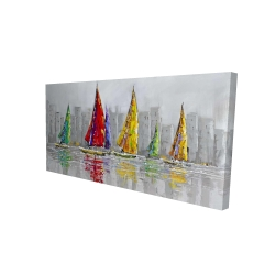 Canvas 24 x 48 - 3D - Sailboats in the wind