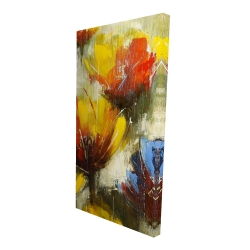 Canvas 24 x 48 - 3D - Texturized yellow flowers