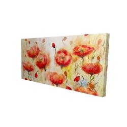 Canvas 24 x 48 - 3D - Red flowers garden