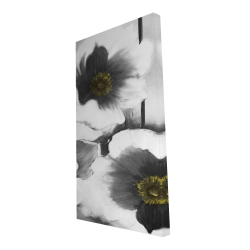 Canvas 24 x 48 - 3D - Black and white flowers