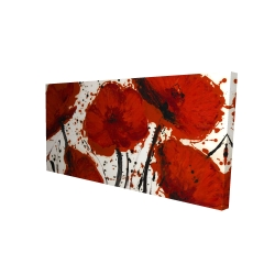 Canvas 24 x 48 - 3D - Abstract paint splash red flowers