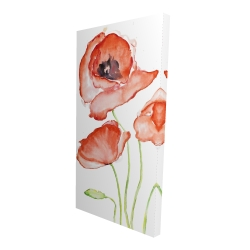 Canvas 24 x 48 - 3D - Watercolor poppies