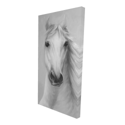 Canvas 24 x 48 - 3D - Monochrome mighty white horse