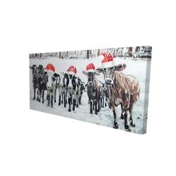 Canvas 24 x 48 - 3D - Curious christmas cows