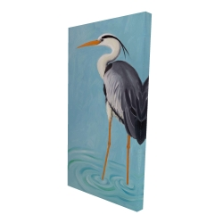 Canvas 24 x 48 - 3D - Grey heron