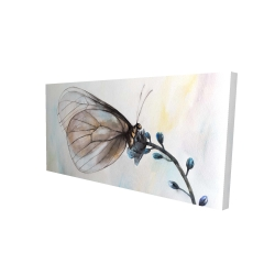 Canvas 24 x 48 - 3D - Butterfly on blue flowers