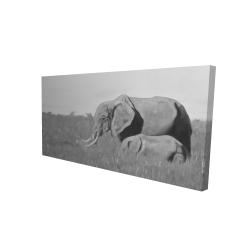 Canvas 24 x 48 - 3D - Elephants in the savannah