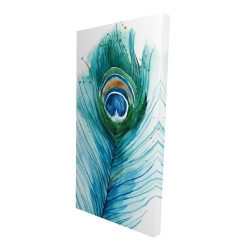 Canvas 24 x 48 - 3D - Long peacock feather