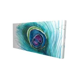 Canvas 24 x 48 - 3D - Peacock feather closeup