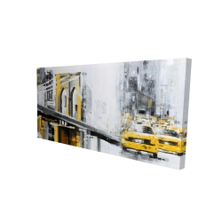 Canvas 24 x 48 - 3D - Yellow brooklyn bridge with taxis