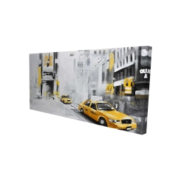 Canvas 24 x 48 - 3D - New york city with taxis