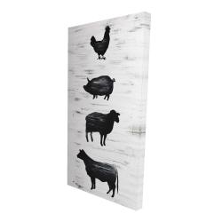 Canvas 24 x 48 - 3D - Farm animals