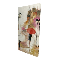 Canvas 24 x 48 - 3D - Passersby under their umbrellas