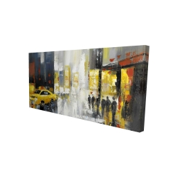 Canvas 24 x 48 - 3D - Rainy busy street