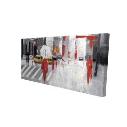 Canvas 24 x 48 - 3D - Abstract cloudy city street