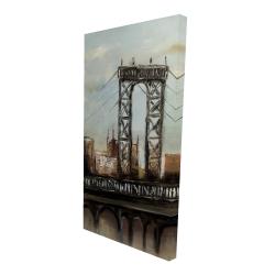 Canvas 24 x 48 - 3D - City bridge by a cloudy day