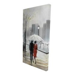 Canvas 24 x 48 - 3D - Couple walking under the rain