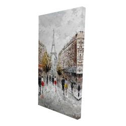 Canvas 24 x 48 - 3D - Paris busy street