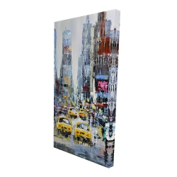 Canvas 24 x 48 - 3D - Urban scene with yellow taxis