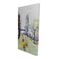 Canvas 24 x 48 - 3D - Gray street with yellow and red accents