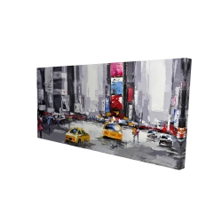 Canvas 24 x 48 - 3D - Abstract street with yellow taxis