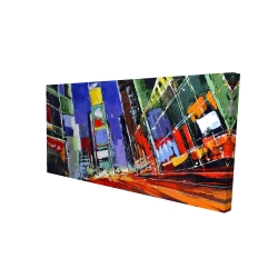 Canvas 24 x 48 - 3D - Colorful times square by night