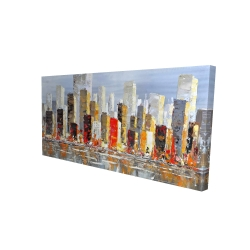 Canvas 24 x 48 - 3D - Colorful buildings with water reflection