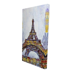 Canvas 24 x 48 - 3D - Abstract paint splash eiffel tower