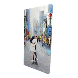 Canvas 24 x 48 - 3D - Kiss of times square