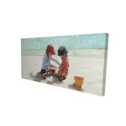Canvas 24 x 48 - 3D - Little girls at the beach