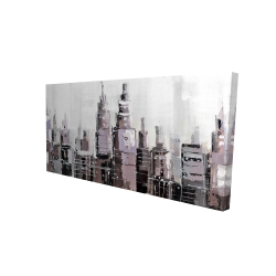 Canvas 24 x 48 - 3D - Abstract grayscale cityscape