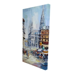 Canvas 24 x 48 - 3D - Busy street by a sunny day