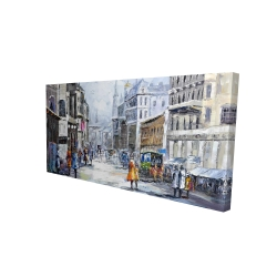 Canvas 24 x 48 - 3D - Busy street by a cloudy day