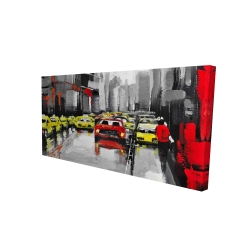 Canvas 24 x 48 - 3D - Abstract traffic by a rainy day