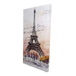 Canvas 24 x 48 - 3D - Eiffel tower sketch with an handwritten message